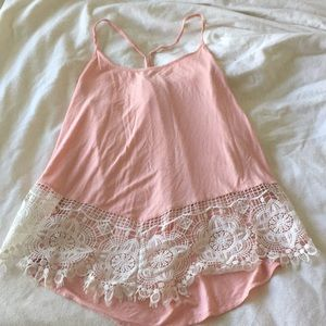 Reborn J Embroidered Lace Detail Soft Tank Top